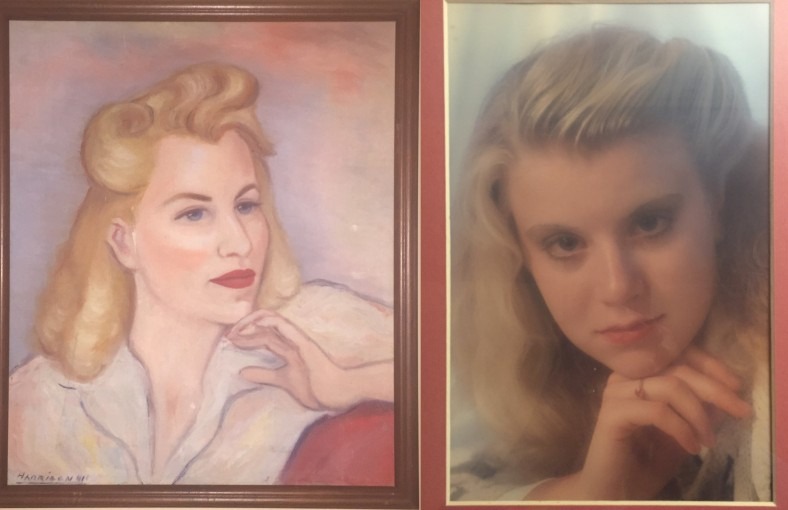 (l-r) Portrait of Lee Franclemont signed by 'Harrison', 1941, oil on linen and Kelise Franclemont, 1990. Photo credit Kelise Franclemont.