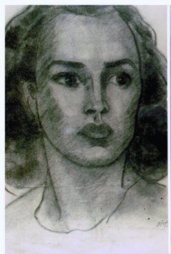 Lee Franclemont (née Pfaff), portrait study (Betty Halsdorfer), 1940s, charcoal on paper. Photo credit John FN Franclemont. Private collection.