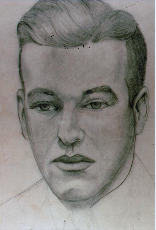 Lee Franclemont (née Pfaff), portrait study (Bob), 1940s, charcoal/pencil on paper. Photo credit John FN Franclemont.