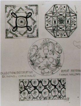 Lee Franclemont (née Pfaff), design motifs for repeat pattern, 1940s, pencil on paper. Photo credit John FN Franclemont. Private collection.