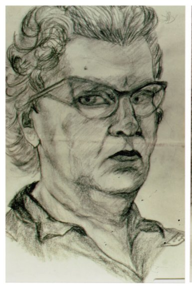 Lee Franclemont, study for self-portrait, 1960-70s, charcoal on paper. Photo credit John FN Franclemont. Private collection.