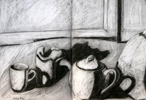 Kelise Franclemont, still life (white objects), 2009, charcoal on paper. Photo credit Kelise Franclemont.