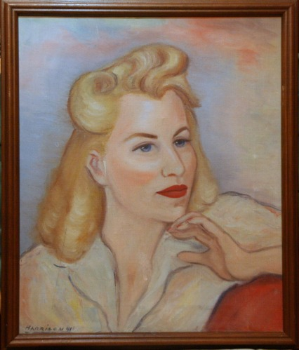 Portrait of Lee Franclemont (nee Emily Pfaff), 1941, signed 'Harrison' by fellow art student at Art Institute of Buffalo, NY. Photo credit Kelise Franclemont. Private collection.