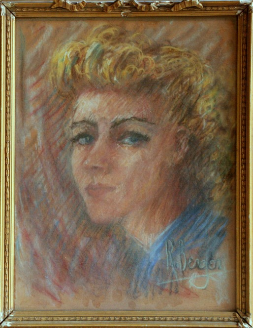 Signed R. Bergen, portrait of Lee (nee Pfaff), 1941, pastel on paper. Photo credit Kelise Franclemont. Private collection.