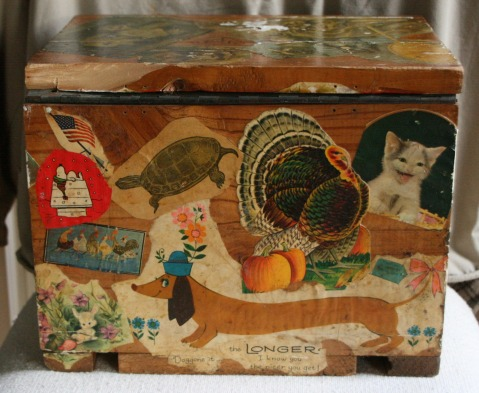 Lee Franclemont, 1975, back view, decoupage on found wooden ammunition box. Photo credit Kelise Franclemont. Private collection.