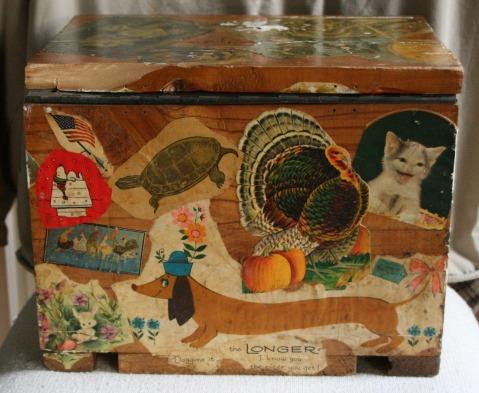 Lee Franclemont, 1975, back view, decoupage on found wooden ammunition box. Photo credit Kelise Franclemont. Private collection.