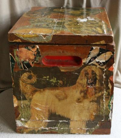 Lee Franclemont, 1975, side view, decoupage on found wooden ammunition box. Photo credit Kelise Franclemont. Private collection.