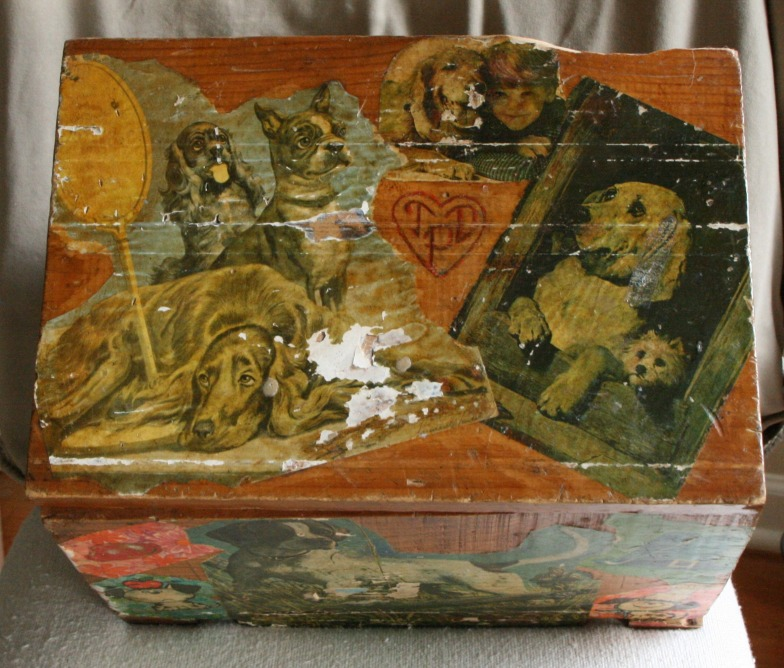 Lee Franclemont, 1975, top view, decoupage on found wooden ammunition box. Photo credit Kelise Franclemont. Private collection.