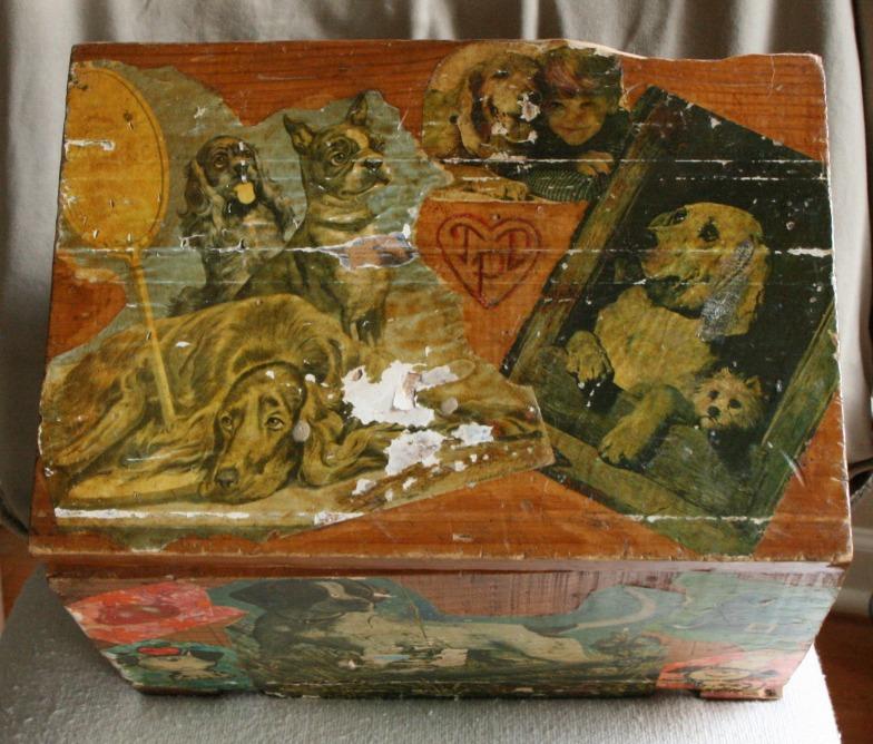 Lee Franclemont, 1975, top view, decoupage on found wooden ammunition box. Photo credit Kelise Franclemont. Private collection.