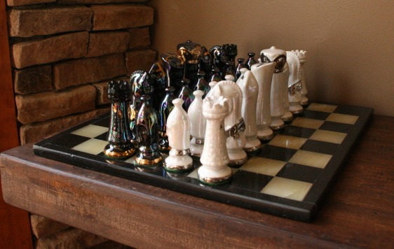 Lee Franclemont, Gothic chess set, 1980s, glazed ceramic. Photo credit Kelise Franclemont. Private collection.