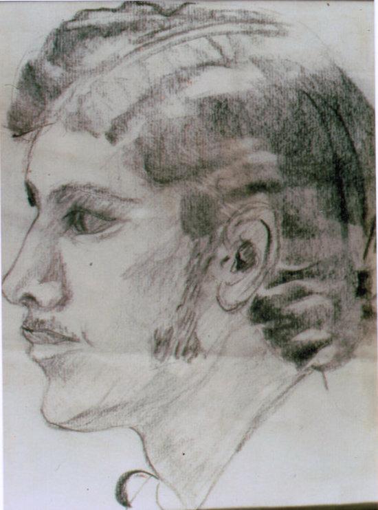 Lee Franclemont, portrait study (Jeff Stephans), 1970s, charcoal on paper. Photo credit John FN Franclemont.