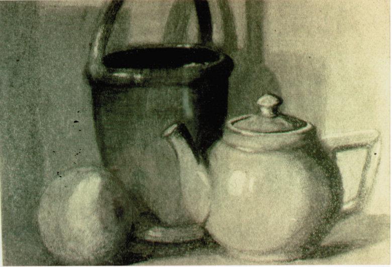 Lee Franclemont, still life (teapot, orange, pail), 1940s, charcoal on paper. Photo credit John FN Franclemont.