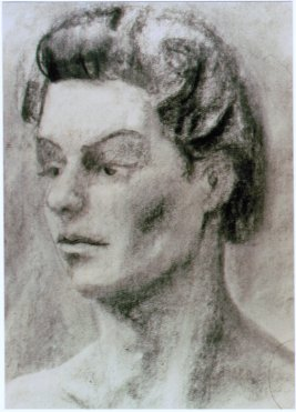 Lee Franclemont, portrait study (Kay Halsdorfer?), 1960s, charcoal on paper. Photo credit John FN Franclemont. Private collection.