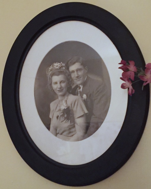 "Wedding portrait of my grandparents, Emily ""Lee"" (née Pfaff) and Richard H Franclemont, 15 June 1946. Image courtesy E. Artman."